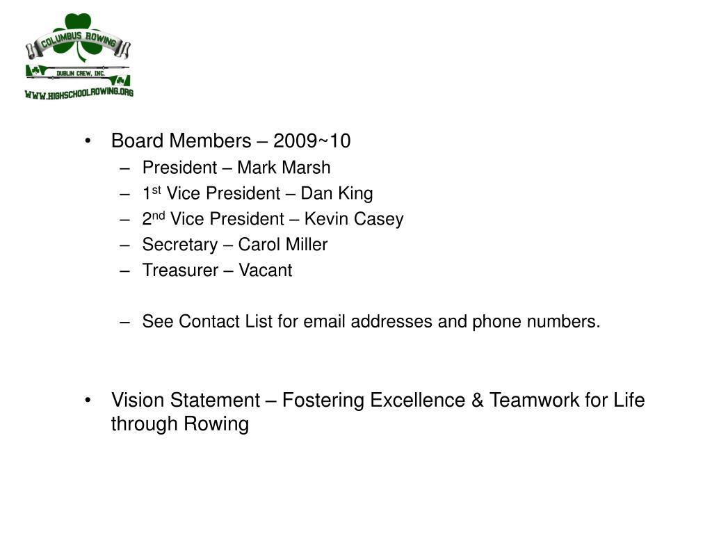 Board Members – 2009~10