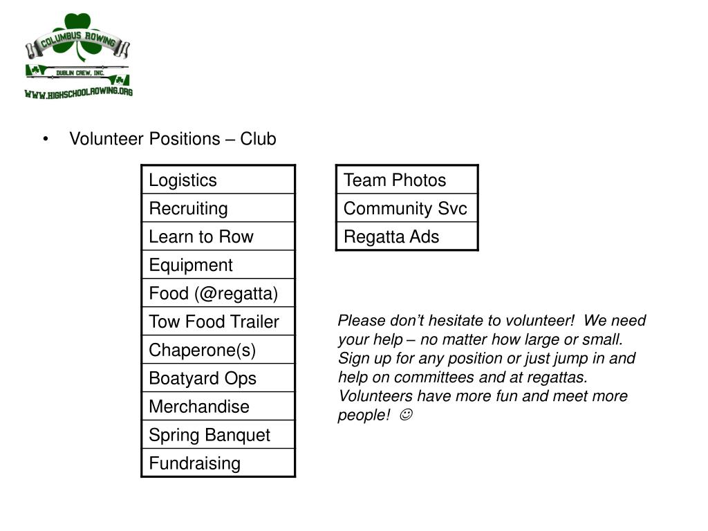 Volunteer Positions – Club