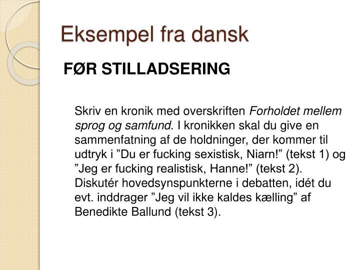 Eksempel fra dansk