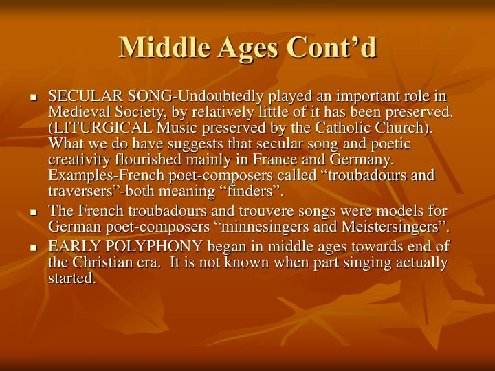 Middle Ages Cont'd