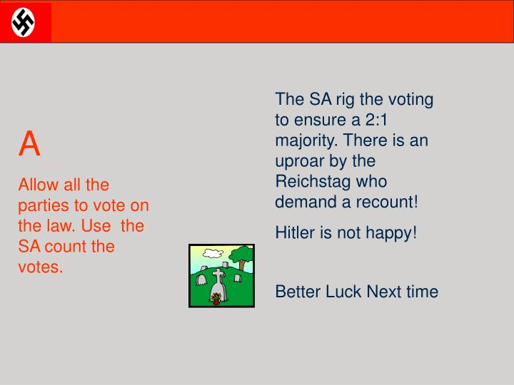 The SA rig the voting to ensure a 2:1 majority. There is an uproar by the Reichstag who demand a recount!