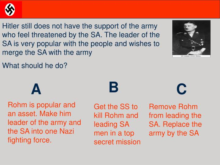 Hitler still does not have the support of the army who feel threatened by the SA. The leader of the SA is very popular with the people and wishes to merge the SA with the army