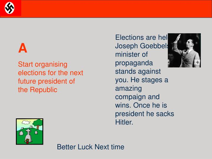 Elections are held, Joseph Goebbels, minister of propaganda stands against you. He stages a amazing compaign and wins. Once he is president he sacks Hitler.