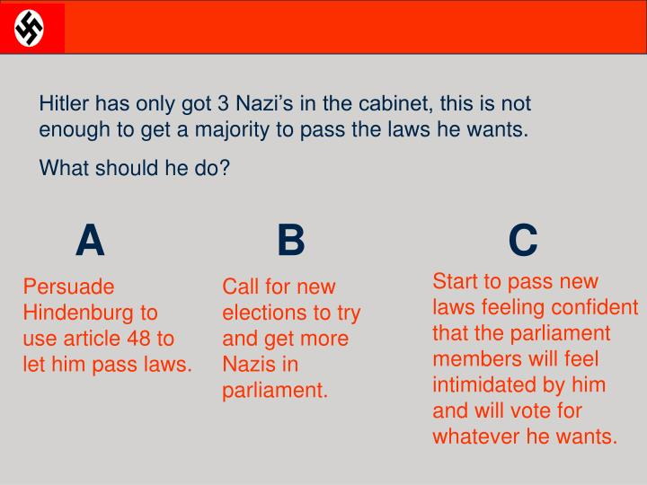 Hitler has only got 3 Nazi's in the cabinet, this is not enough to get a majority to pass the laws he wants.