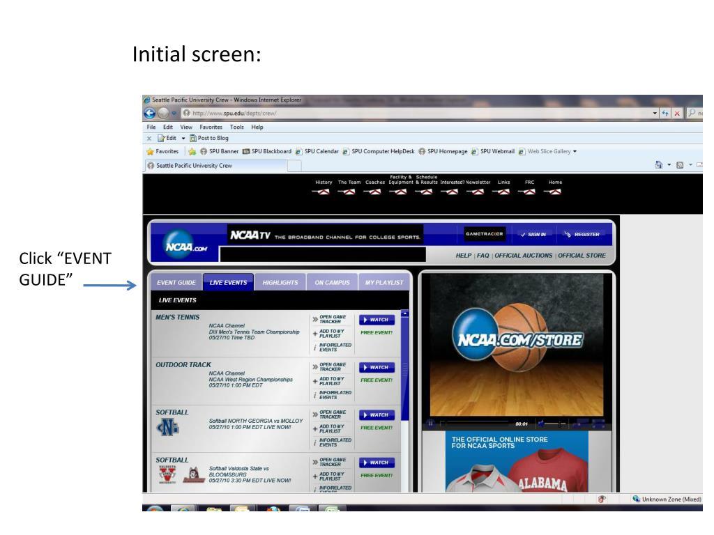 Initial screen: