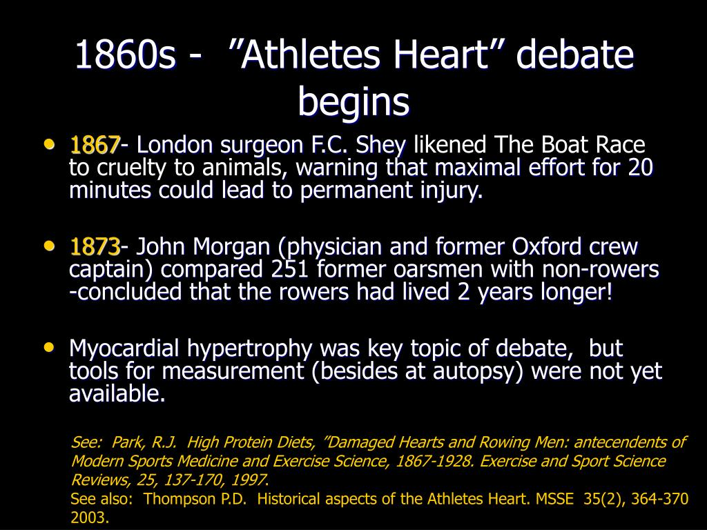 "1860s -  ""Athletes Heart"" debate begins"