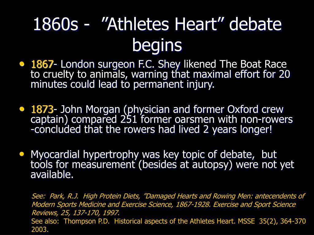"""1860s -  """"Athletes Heart"""" debate begins"""