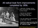 all radical boat form improvements completed by 1856