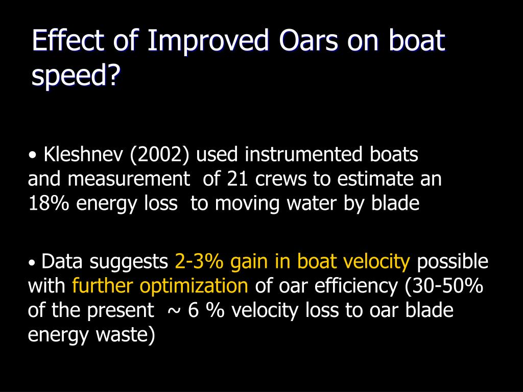 Effect of Improved Oars on boat speed?