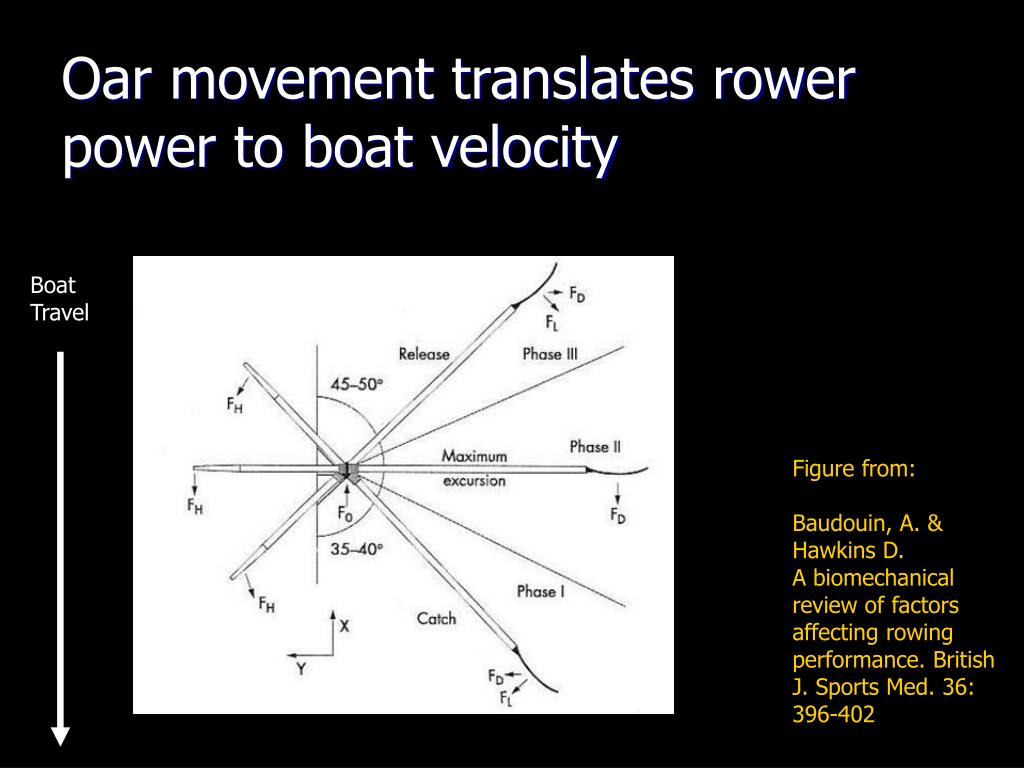 Oar movement translates rower power to boat velocity