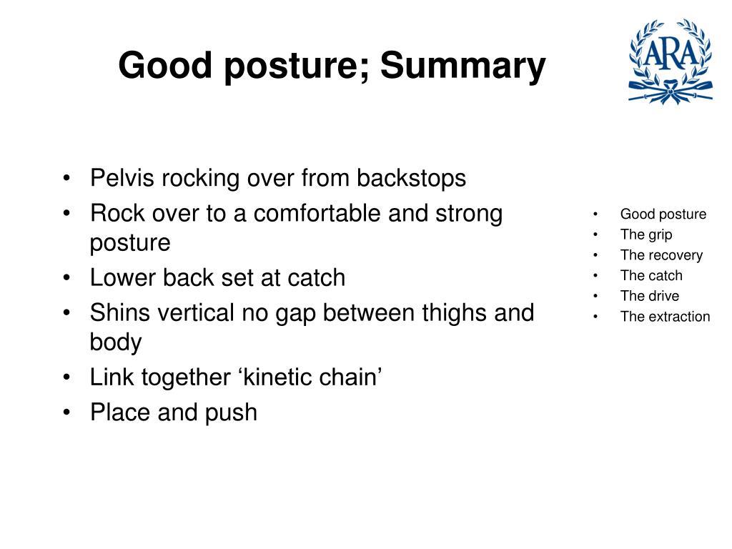 Good posture; Summary