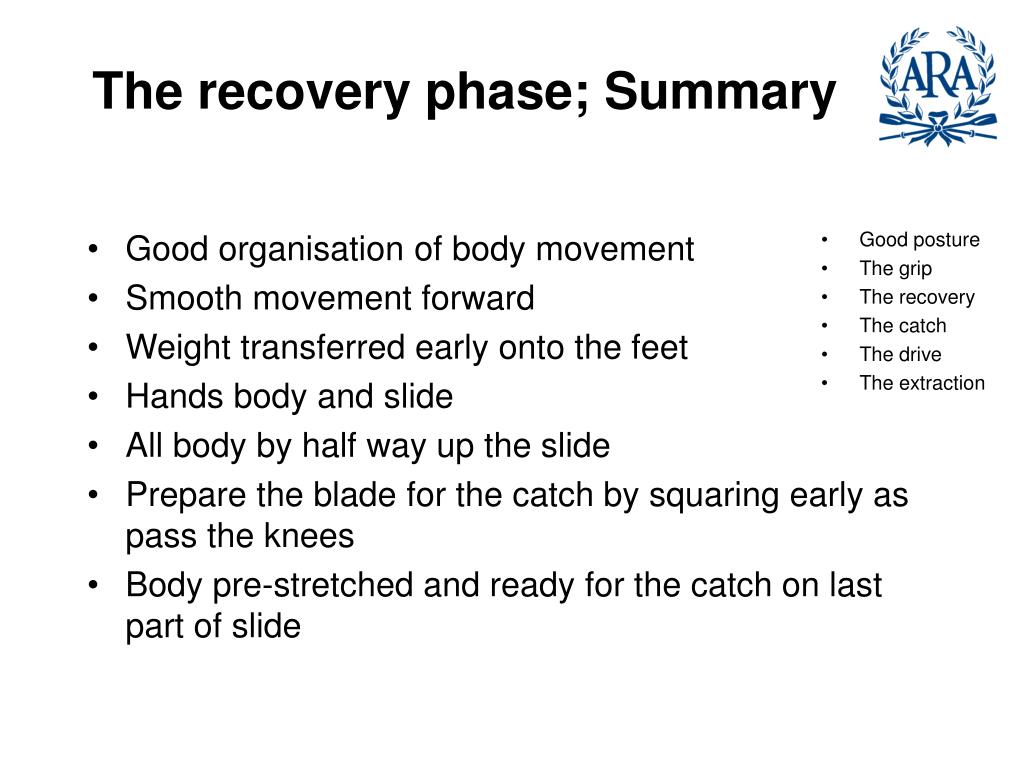 The recovery phase; Summary