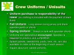 crew uniforms unisuits
