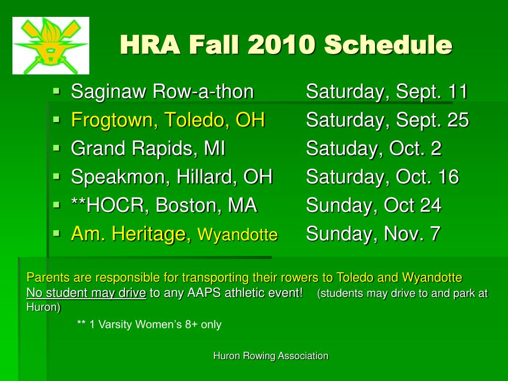 HRA Fall 2010 Schedule