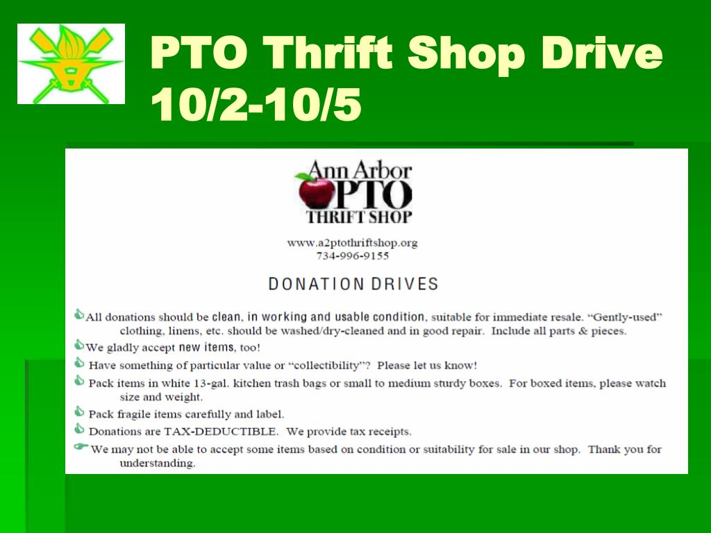 PTO Thrift Shop Drive 10/2-10/5