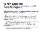 12 ara guidelines recruiting and selecting personnel to work with children and young people