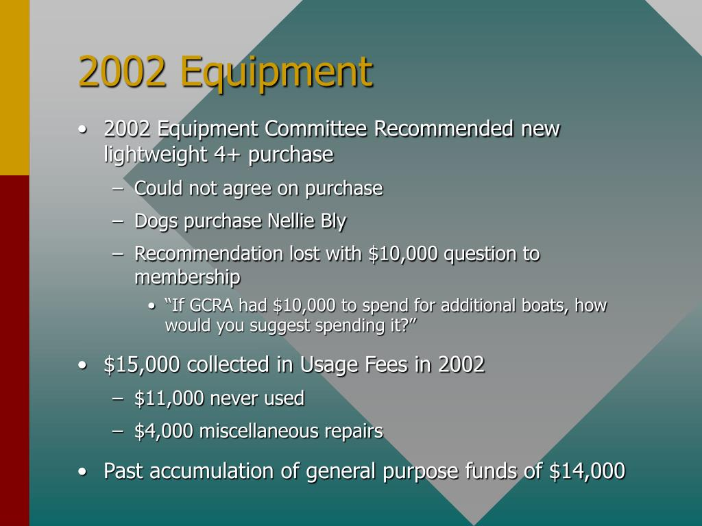 2002 Equipment