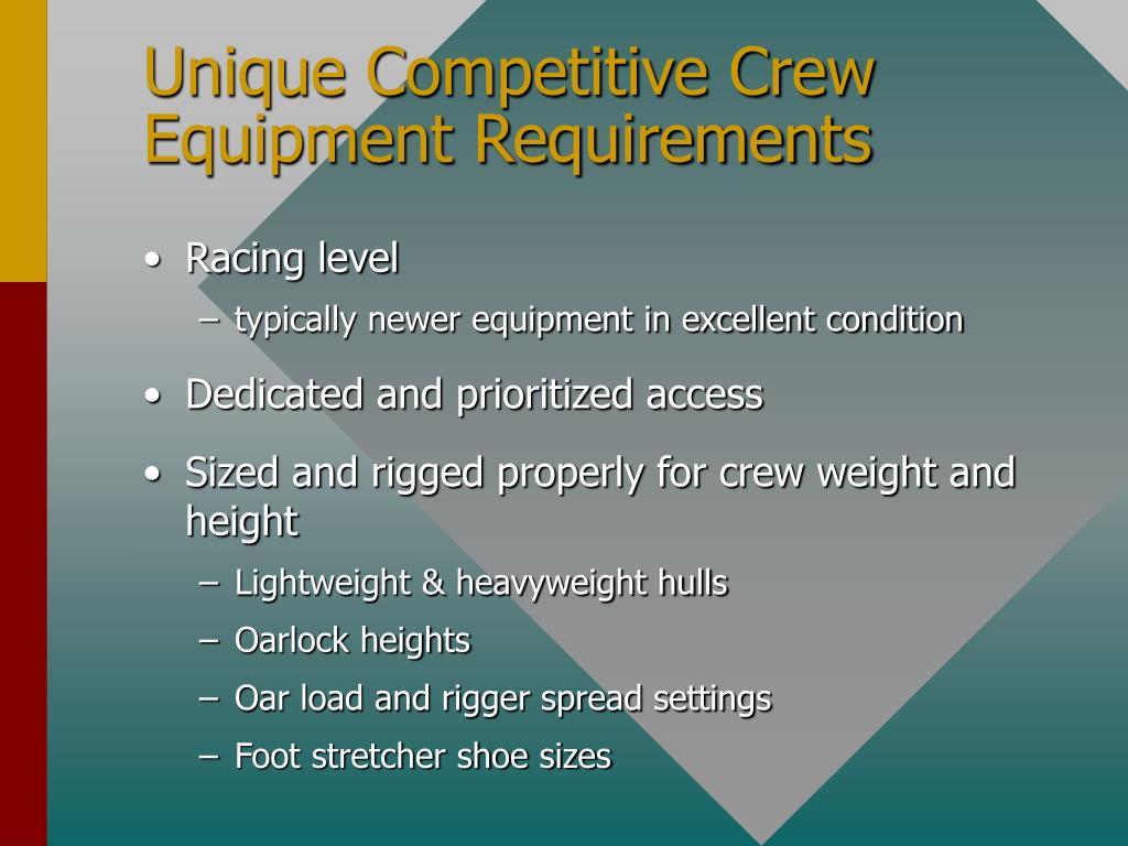 Unique Competitive Crew Equipment Requirements
