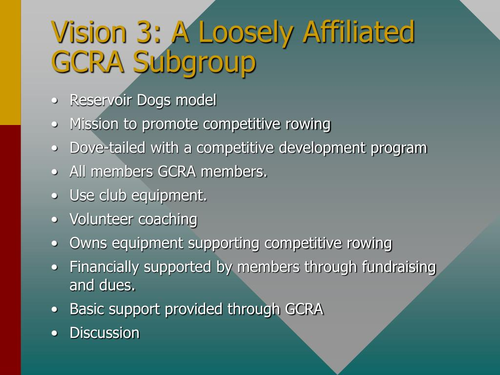 Vision 3: A Loosely Affiliated GCRA Subgroup