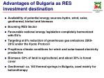 advantages of bulgaria as res investment destination