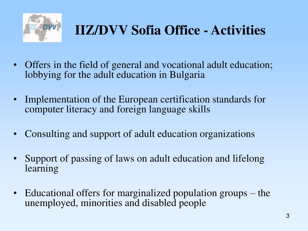 IIZ/DVV Sofia Office - Activities