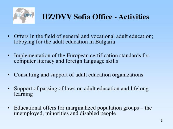 Iiz dvv sofia office activities