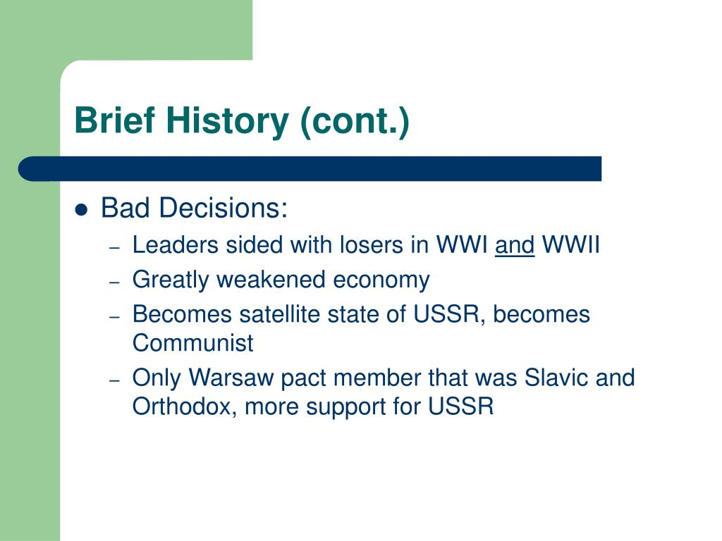 Brief History (cont.)
