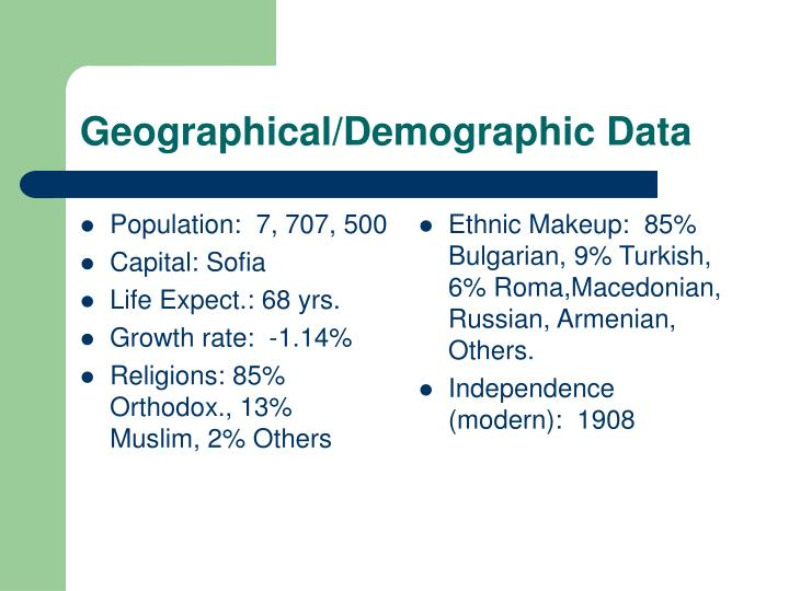 Geographical demographic data