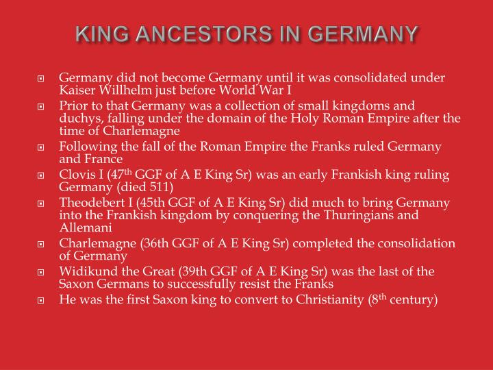 KING ANCESTORS IN GERMANY
