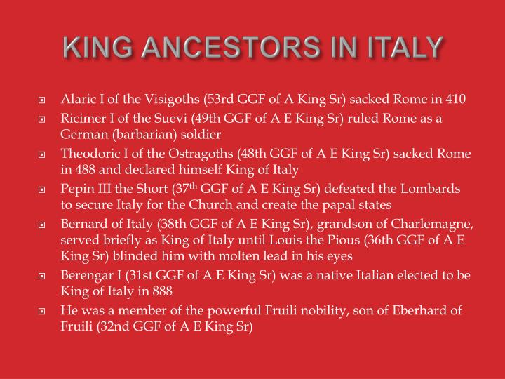 KING ANCESTORS IN ITALY