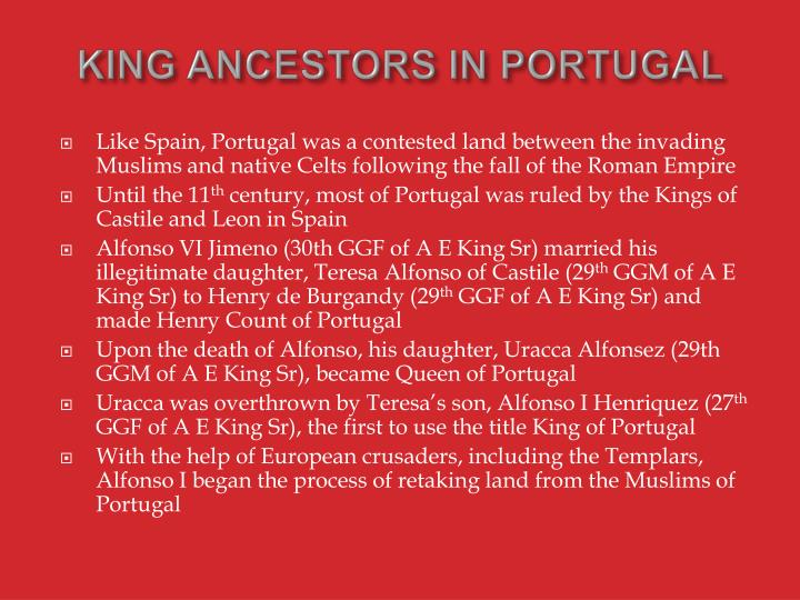 KING ANCESTORS IN PORTUGAL