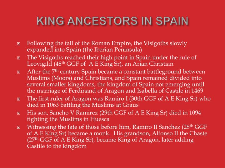 KING ANCESTORS IN SPAIN