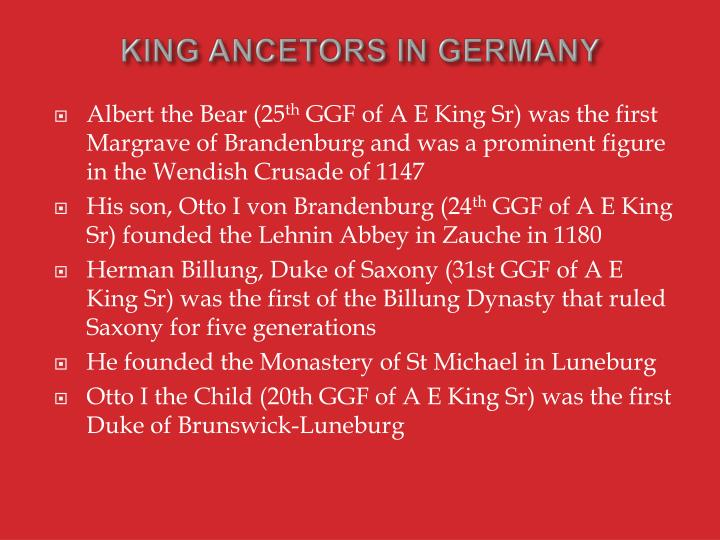 KING ANCETORS IN GERMANY