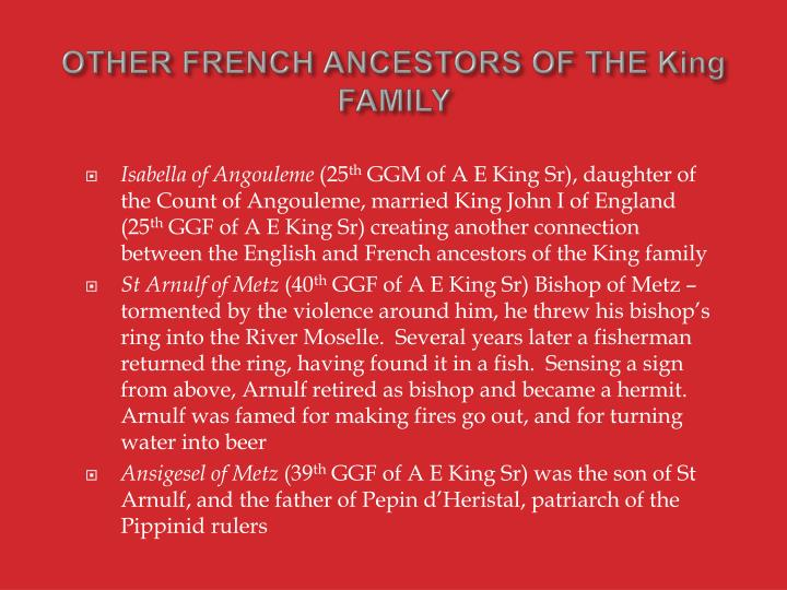 OTHER FRENCH ANCESTORS OF THE King FAMILY
