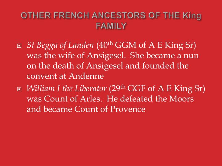 OTHER FRENCH ANCESTORS OF THE