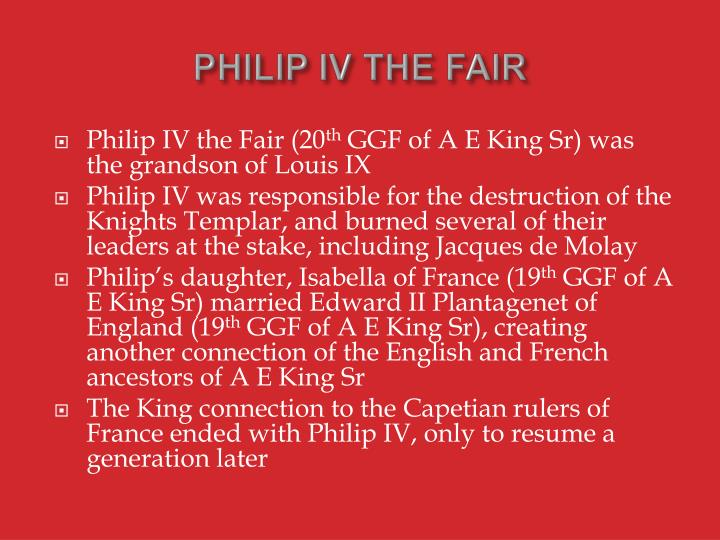 PHILIP IV THE FAIR