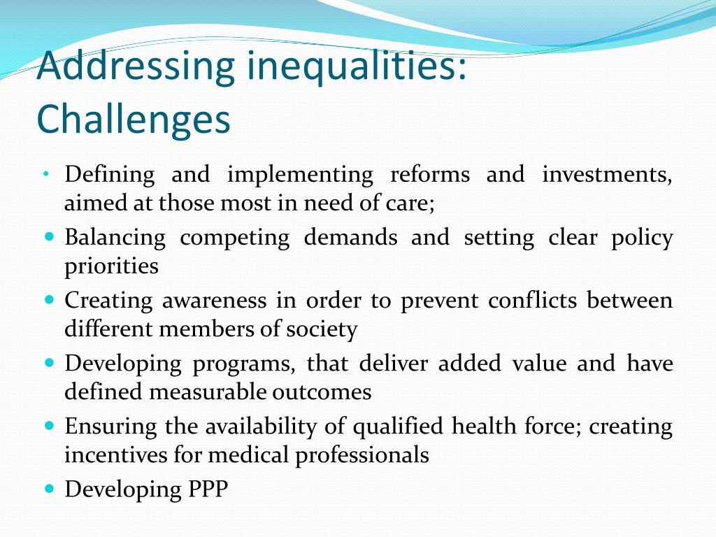 Addressing inequalities: