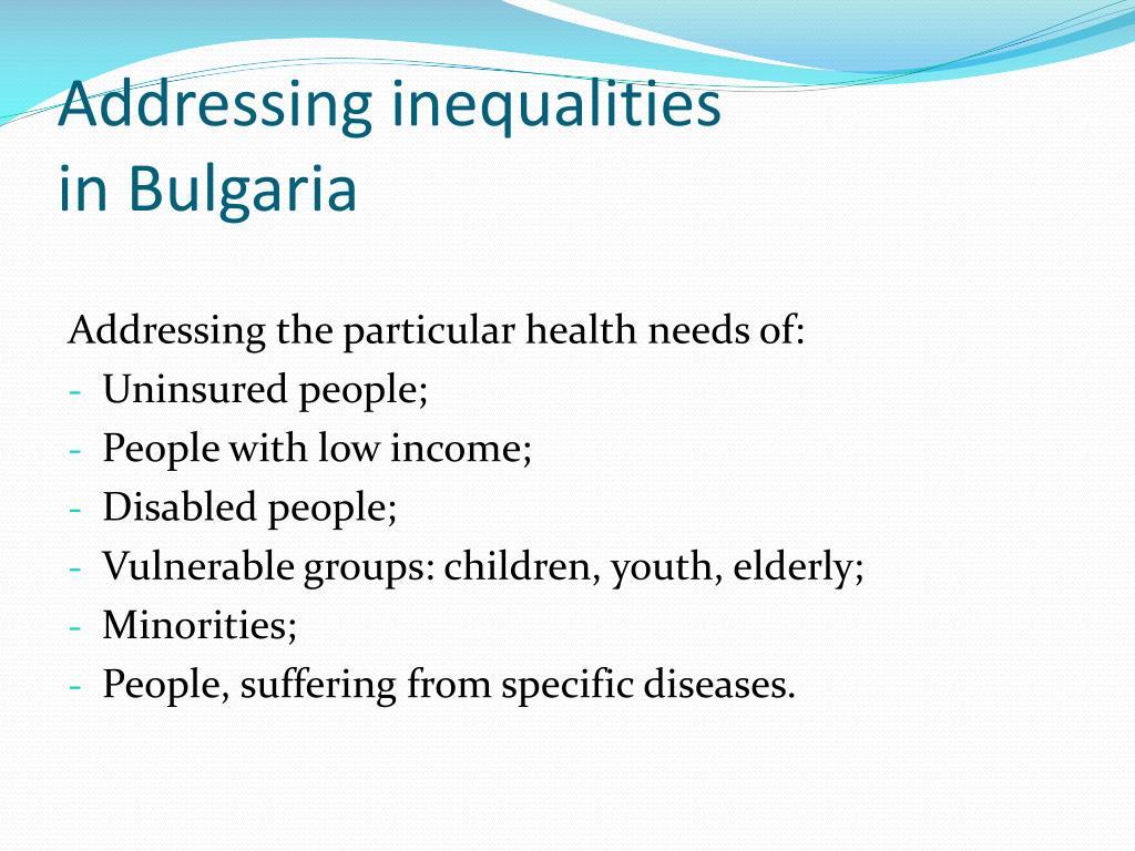 Addressing inequalities
