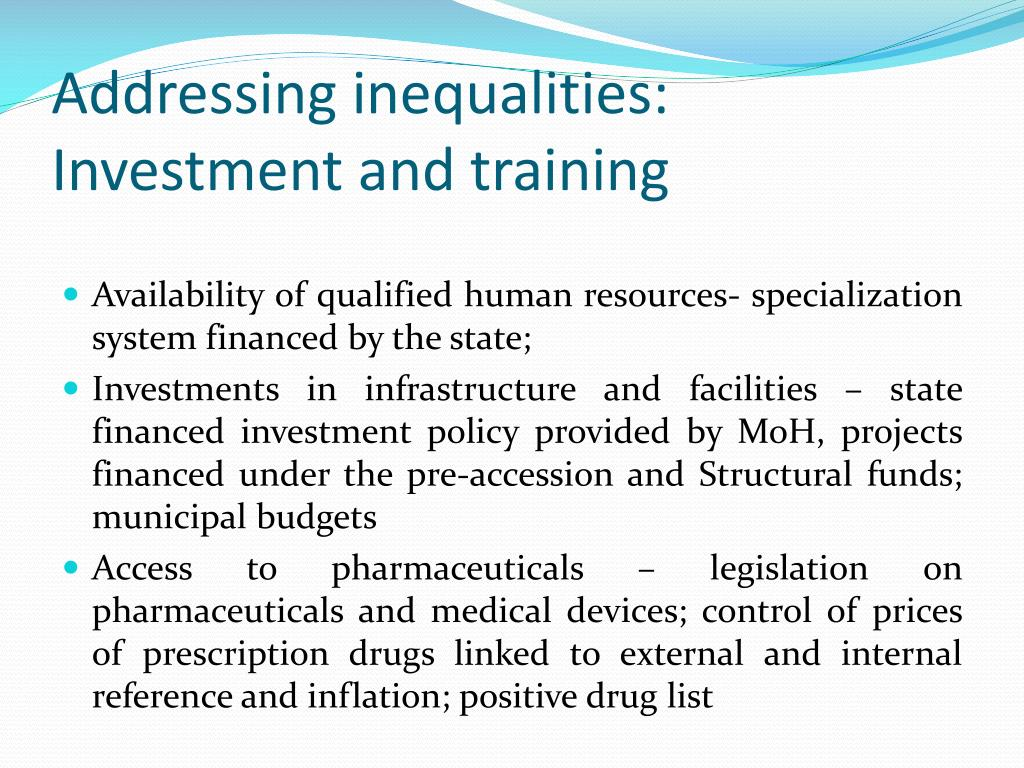 Addressing inequalities: Investment and training