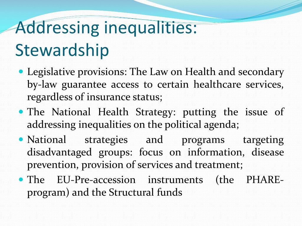 Addressing inequalities: Stewardship