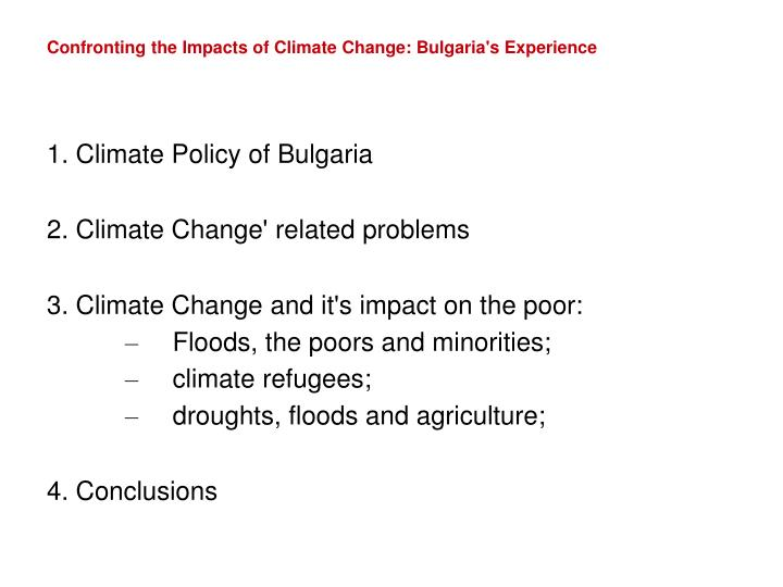 Confronting the impacts of climate change bulgaria s experience