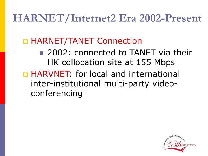 HARNET/Internet2 Era 2002-Present
