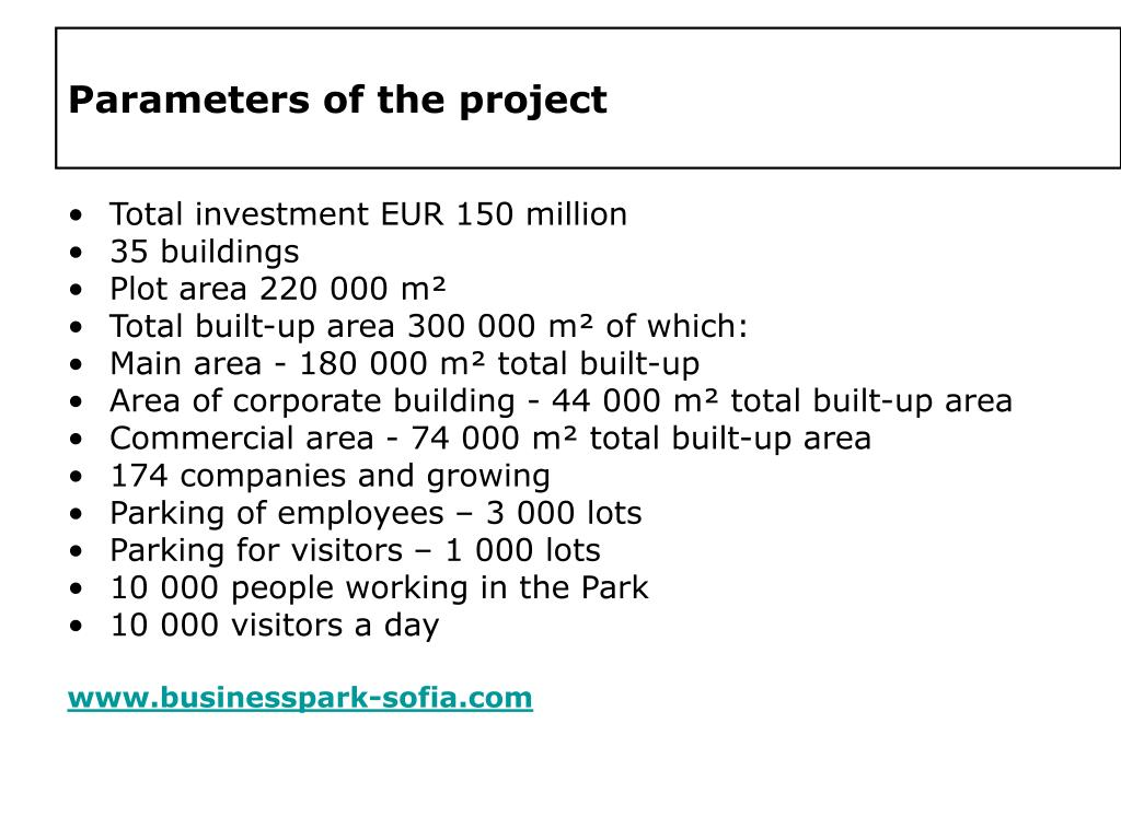 Parameters of the project