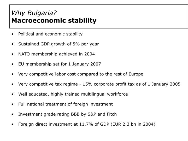 Why bulgaria macroeconomic stability