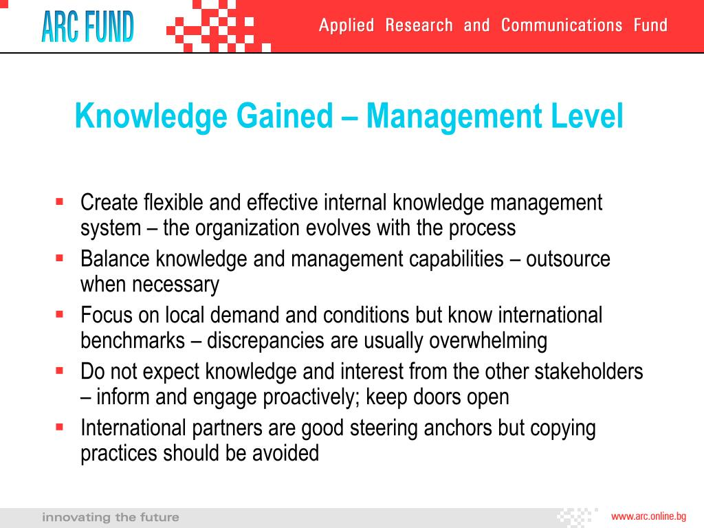 Knowledge Gained – Management Level