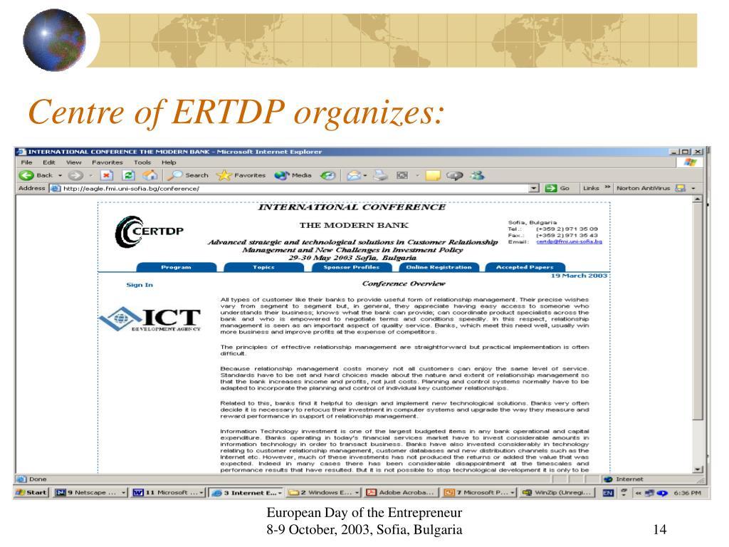 Centre of ERTDP organizes: