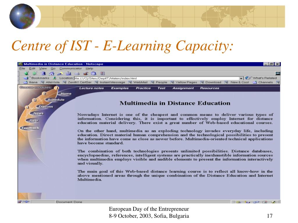 Centre of IST - E-Learning Capacity:
