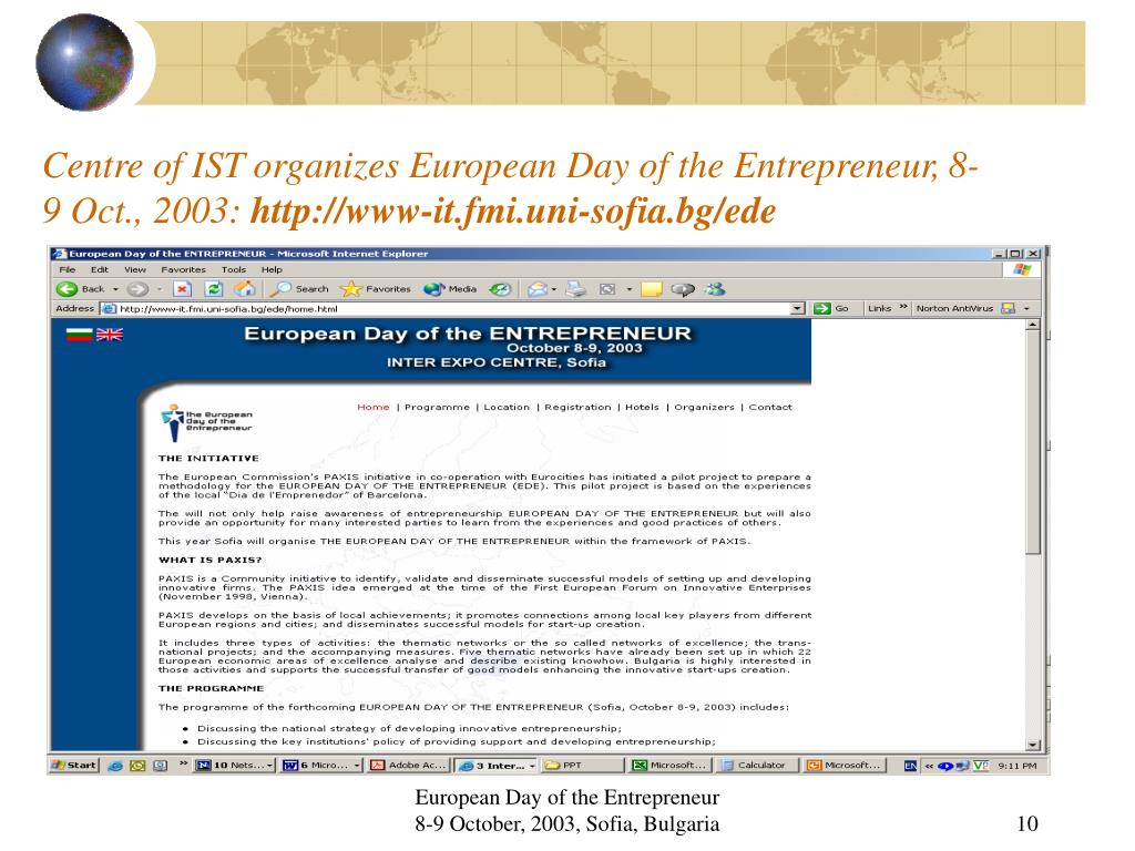 Centre of IST organizes European Day of the Entrepreneur, 8-9 Oct., 2003: