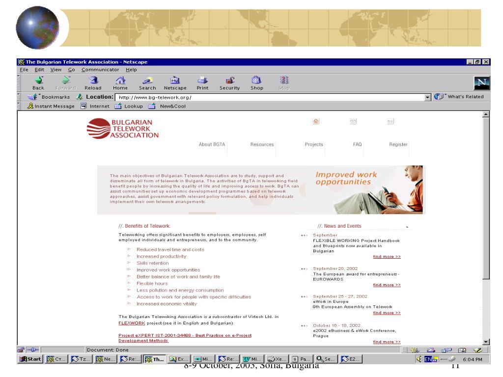 European Day of the Entrepreneur                              8-9 October, 2003, Sofia, Bulgaria