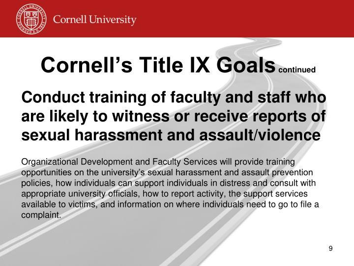 Cornell's Title IX Goals
